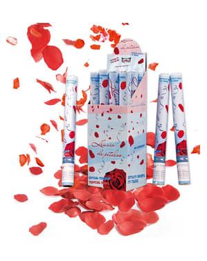 50 cm punaiset ruusun terälehdet -konfettitykki