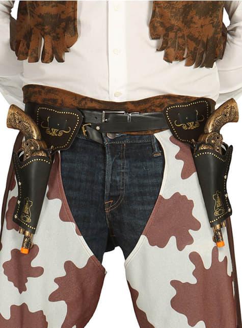 Doppeltes Pistolen-Halfter mit Pistole 29 cm