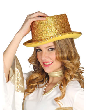 Høj hat med guldglitter