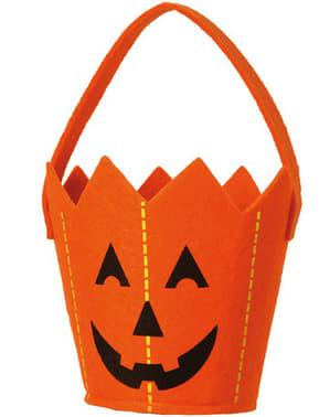 Pumpkin bucket of felt with handle