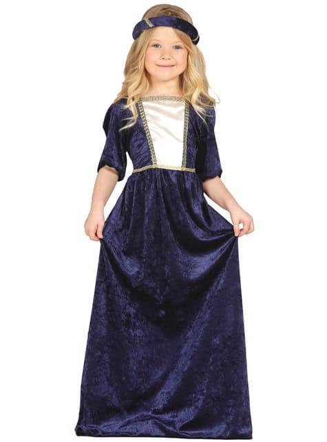 Disfraz de Dama Medieval azul para niña