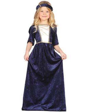 Middeleeuwse Dame blauw kostuum voor meisjes
