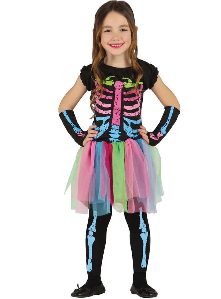 Disfraz de Esqueleto de Colores para niña | Funidelia