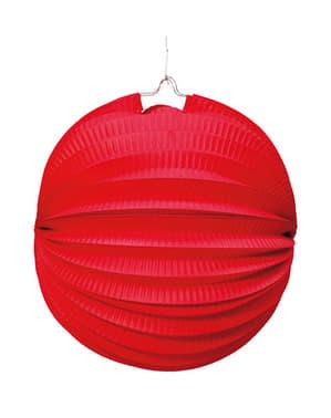 Bolvormige lantaarn van 26 cm. Rood