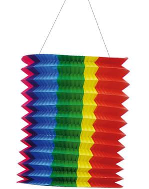 Avlång papperslykta Regnbågsfärgad 20 cm