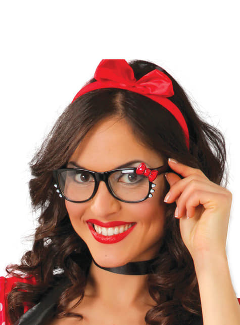 Óculos com laço vermelho