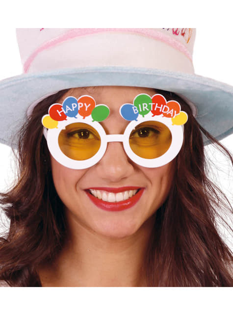 White Happy Birthday Glasses