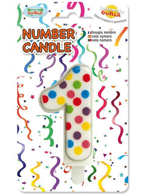 Vela de Cumpleaños Confeti Número 1