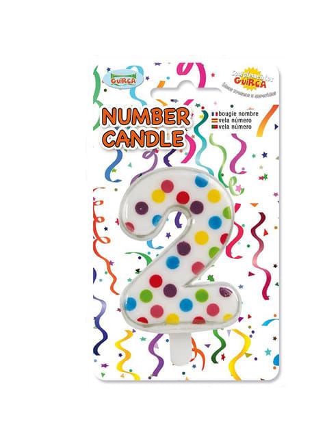 Vela de Cumpleaños Confeti Número 2