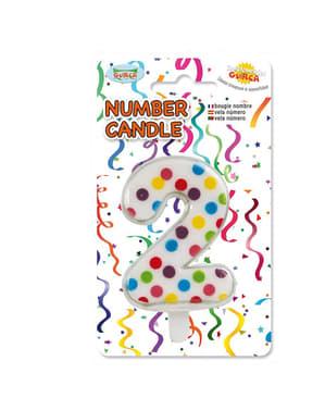 No. 2 Confetti Birthday Candle
