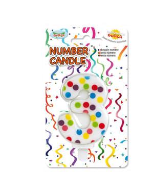 Vela de Aniversário Confete Número 3