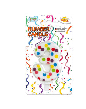 Vela de Cumpleaños Confeti Número 3