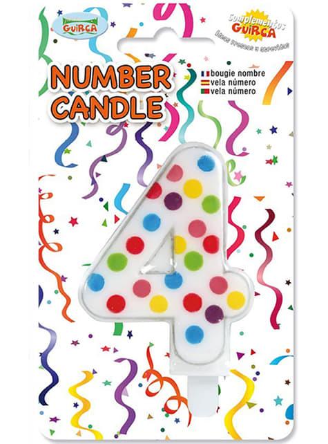 Vela de Cumpleaños Confeti Número 4