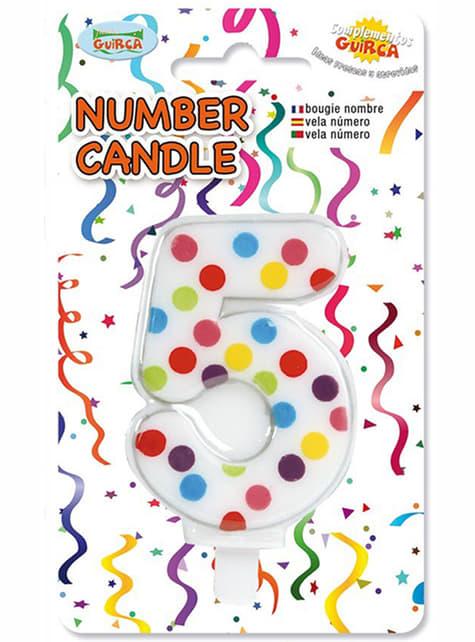 Vela de Aniversário Confete Número 5