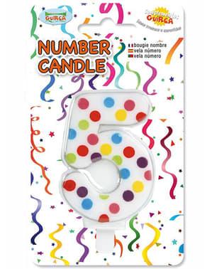 Konfetti Födelsedagsljus Nummer 5