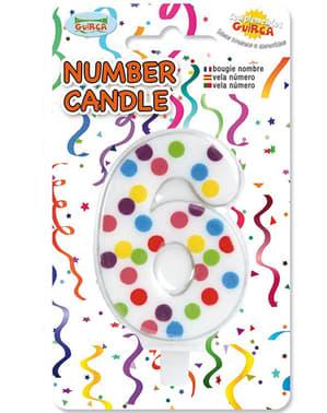 No. 6 Confetti Birthday Candle