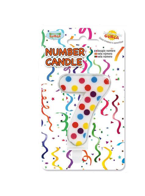 Vela de Cumpleaños Confeti Número 7