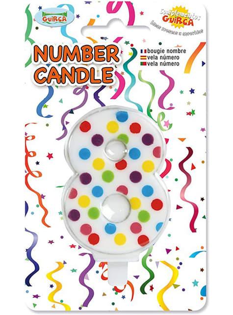 Narodeninová sviečka č. 8 v konfetoch