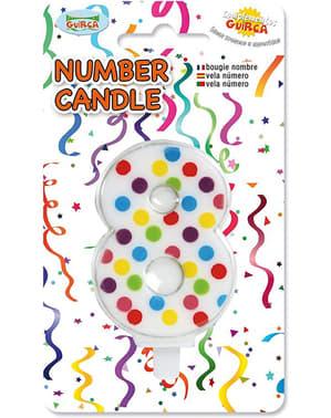Vela de Cumpleaños Confeti Número 8