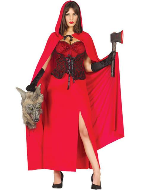 Sterk Roodkapje kostuum voro vrouw