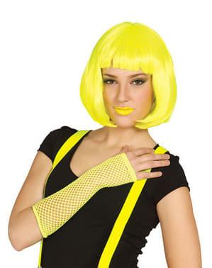 Gant en résille jaune fluo