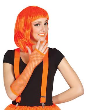 Neon Orange Fishnet Glove