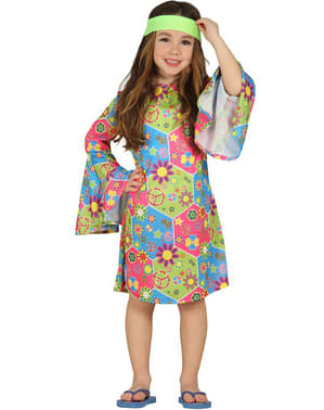 Girls Multi-coloured Hippy Costume
