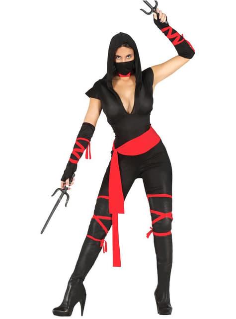 Fato de ninja preto para mulher