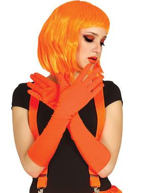 Lange oranje handschoenen