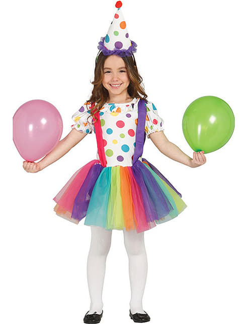 Girls Multi-coloured Clown Costume