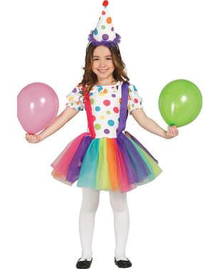 Buntes Clown Kostüm für Mädchen Classic