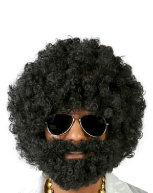Afro Perücke mit Bart