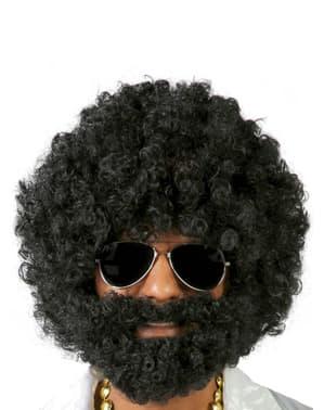 Parrucca afro con barba