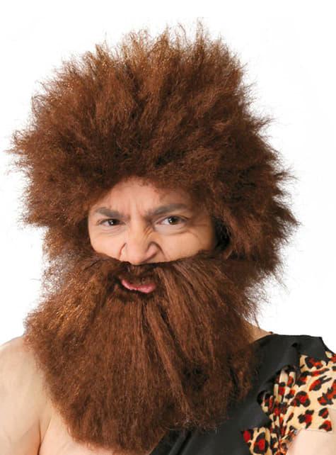 Steinzeit Höhlenmensch Perücke mit Bart
