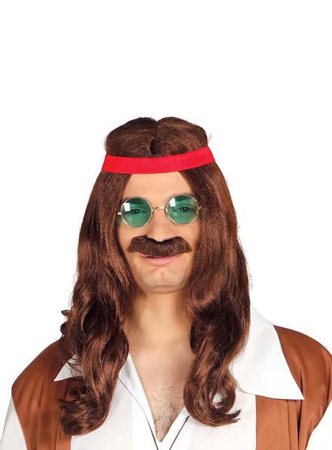 Hippie Perücke mit Schnurrbart