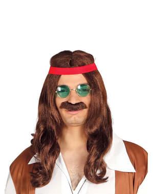 Vrije hippie pruik met snor
