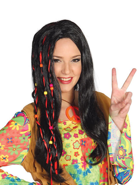Peluca hippie morena