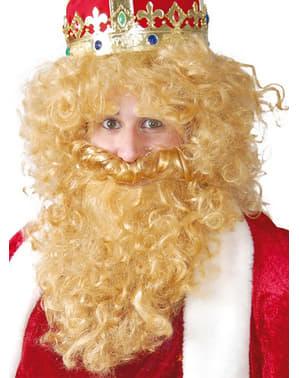 Koning Caspar pruik met baard