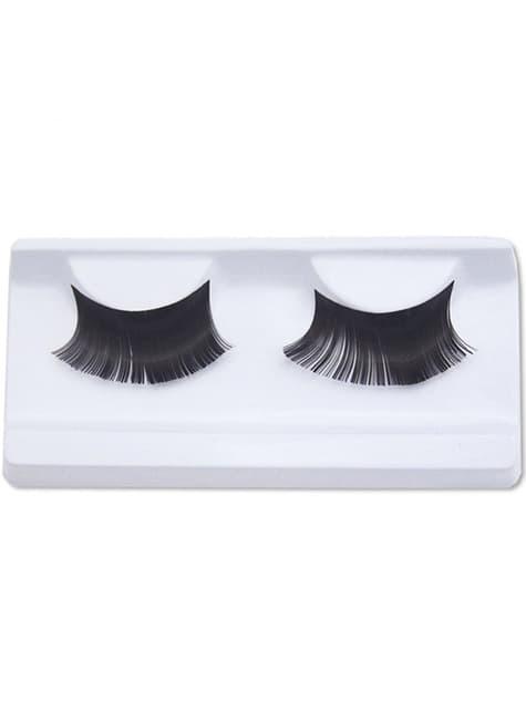 Intense black false eyelashes with glue