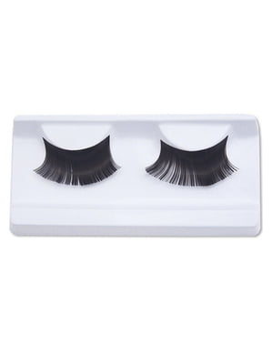 Intense black false eyelashes with glue