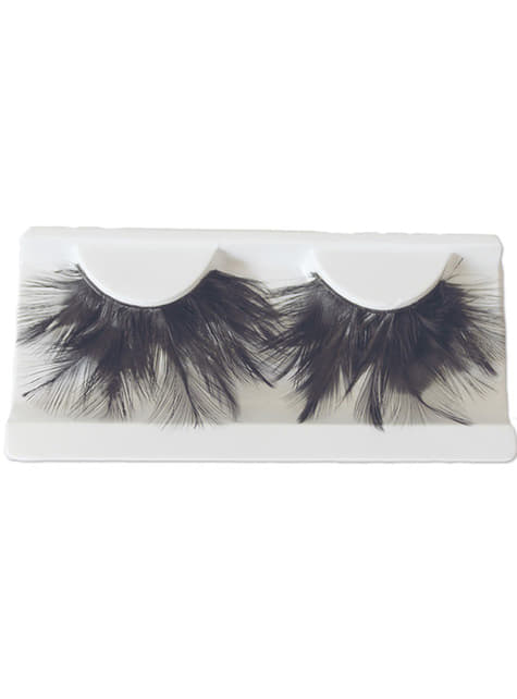 False Eyelashes with Long Feathers and Adhesive