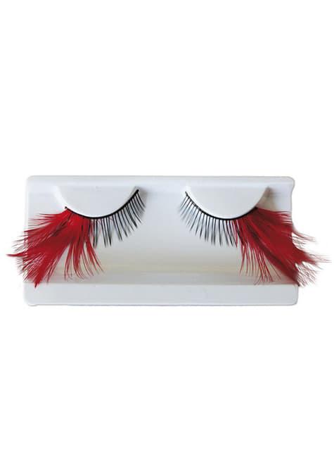 False Eyelashes with Red Feathers and Adhesive