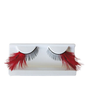 False Eyelashes with Red Feathers and Adhesive