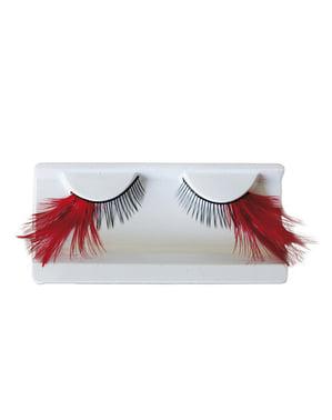 Kunstige øjenvipper med røde fjer og lim