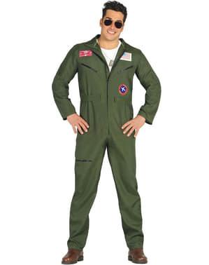Da uomo TOP GUN DELUXE COMPLETO Da Pilota Aviatore Tuta 80s Costume Specifiche