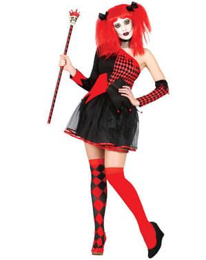 Dunkle Harlekin-Königin Kostüm für Damen