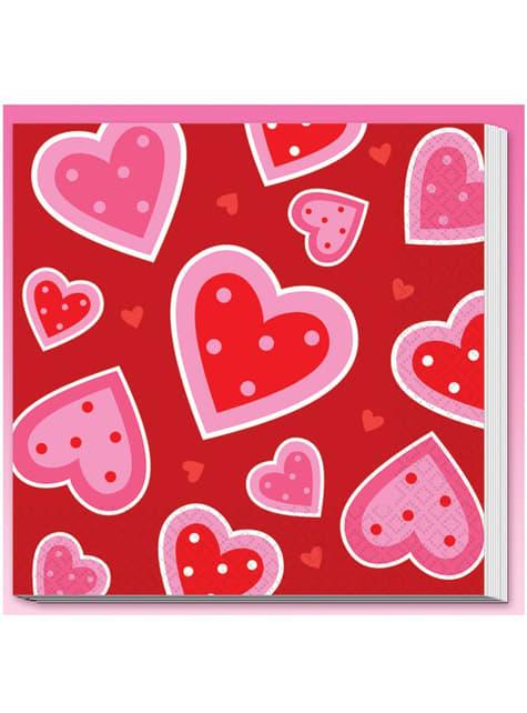 16 tovaglioli con cuori San Valentino