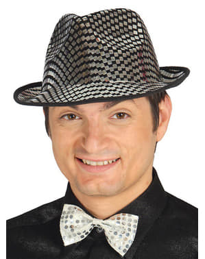 Chapéu de gângster prateado