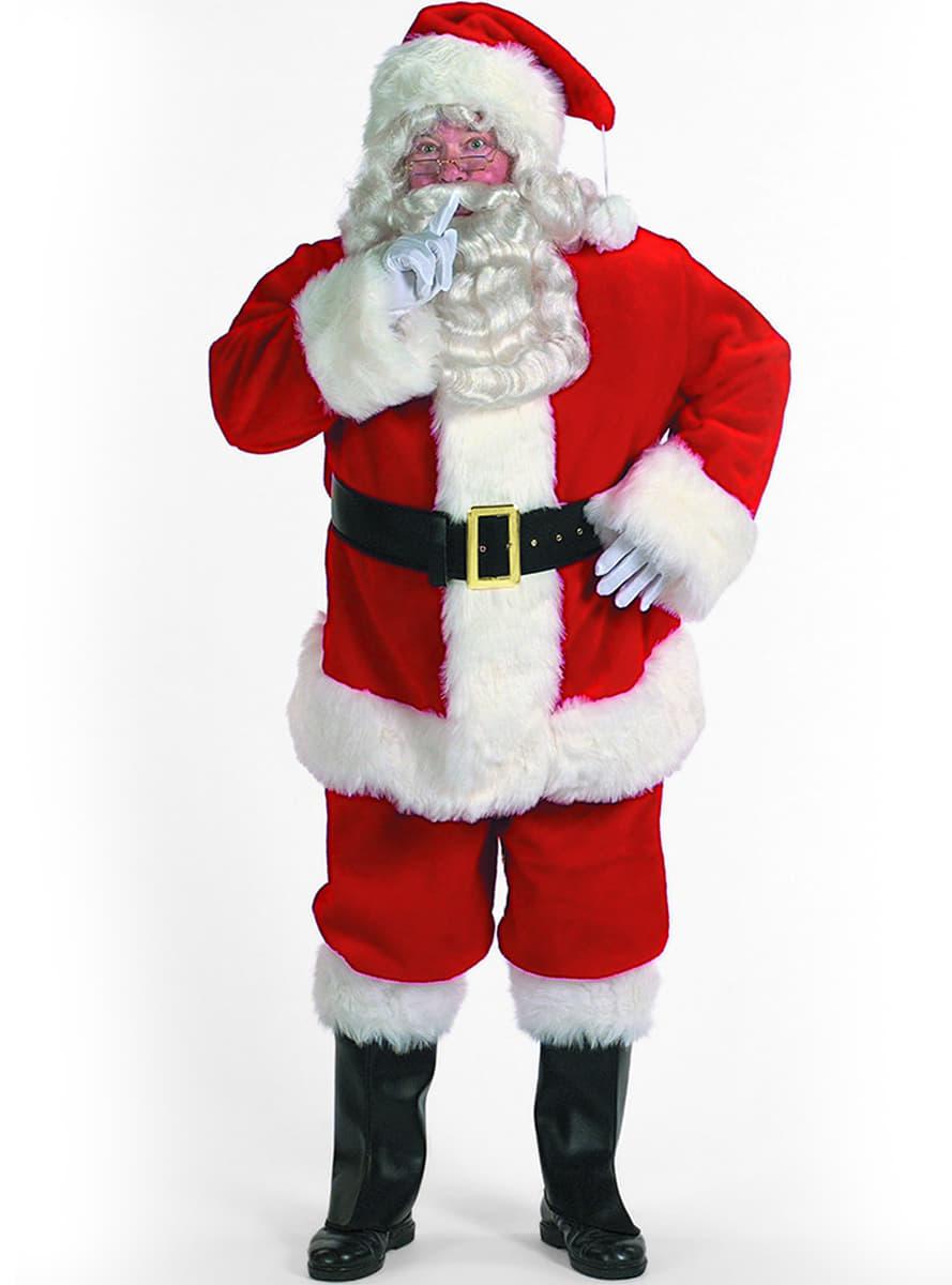 Costume Babbo Natale Professionale Cappello Barba