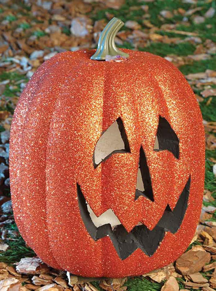 Calabaza 25 cm luminosa con purpurina halloween comprar for Zucca halloween luminosa